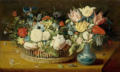 A Still Life With Flowers In A Woven Basket And A Floral Bouquet Poster by Celestial Images