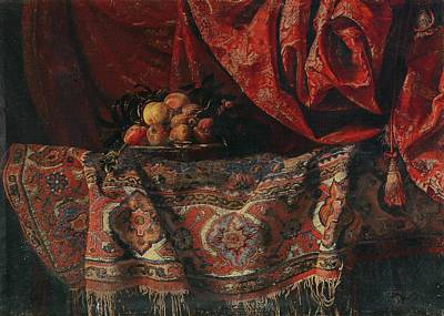 A Still Life With Fruit On A Carpet Poster by Francesco Noletti