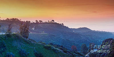 A Sunrise View Of The Griffith Observatory And Downtown Los Angeles - Hollywood Hills California Poster by Silvio Ligutti