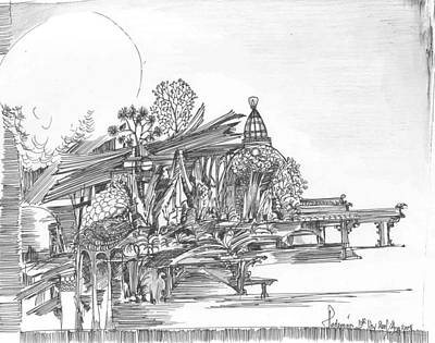 Poster featuring the drawing A Temple A Building And Some Trees by Padamvir Singh