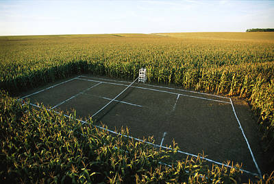 A Tennis Court Carved From A Corn Field Poster by Joel Sartore