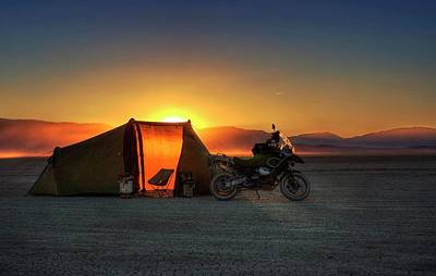 Poster featuring the photograph A Tent, A Motorcycle, And A Sunset On The Playa by Peter Thoeny