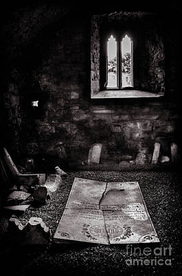 Poster featuring the photograph A Tombstone In Sligo Abbey Bw by RicardMN Photography
