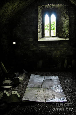 Poster featuring the photograph A Tombstone In Sligo Abbey by RicardMN Photography