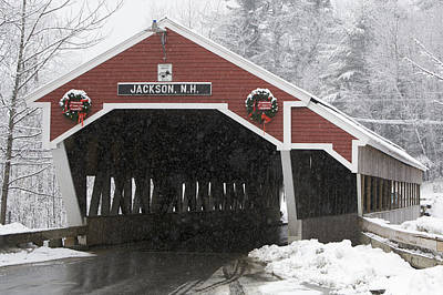 A Traditional Covered Bridge On A Snowy Poster