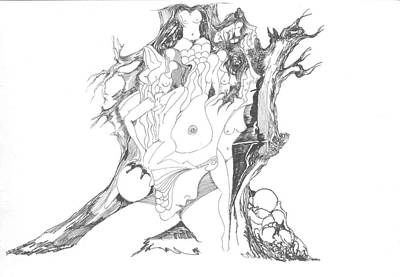 Poster featuring the drawing A Tree Human Forms And Some Rocks by Padamvir Singh
