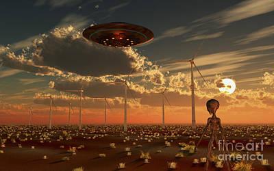 A Ufo And Alien On A Desert Wind Farm Poster by Mark Stevenson