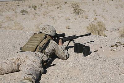 A U.s. Marine Zeros His M107 Sniper Poster