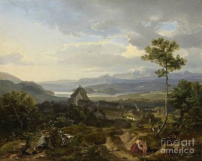 A Varied Alternating Landscape In Which A Peasant Woman With Her Child Poster