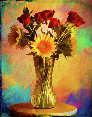 A Vase Of Flowers On A Lazy Susan Poster