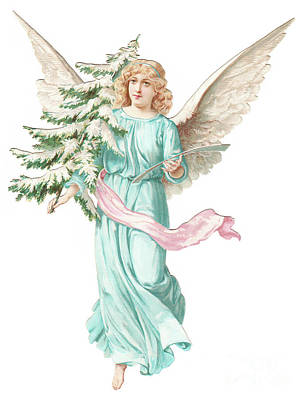 A Victorian Christmas Card Depicting An Angel Holding A Christmas Tree Poster