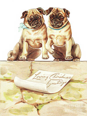 A Victorian Die Cut Three Dimensional Christmas Card Of Two Bulldogs Poster