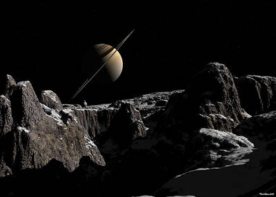 Poster featuring the digital art A View From Iapetus by David Robinson