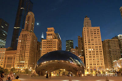 A View From Millenium Park At Night Poster