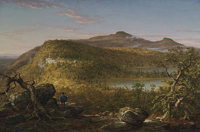 A View Of The Two Lakes And Mountain House Catskill Mountains Morning Poster by Thomas Cole