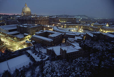 A View Of Vatican City In The Snow.  It Poster
