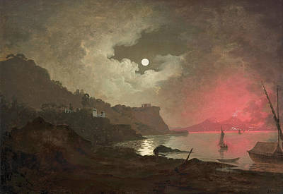 A View Of Vesuvius From Posillipo, Naples Poster by Joseph Wright