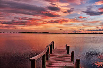 A View To The Bay - Sunset Clouds Poster by HH Photography of Florida