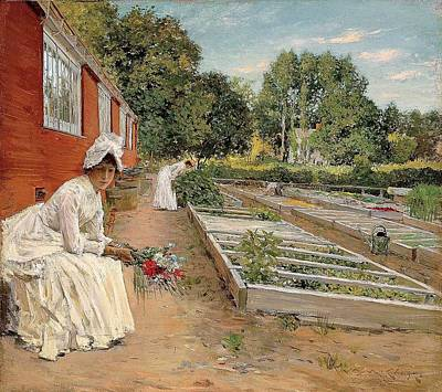 A Visit To The Garden Poster by William Merritt