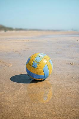 A Volleyball On The Beach Poster by Carlos Caetano