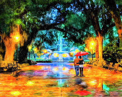 Poster featuring the painting A Walk In Forsyth Park - Savannah by Mark Tisdale