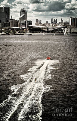 A Water Skier Speeds Past The Royal Victoria Dock Bridge Poster by Lenny Carter