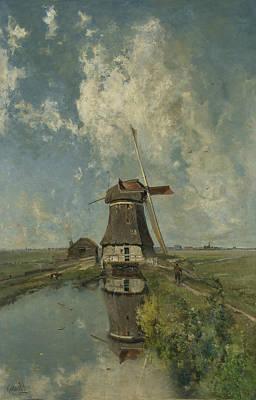 A Windmill On A Poldervaart Poster by Paul Gabriel