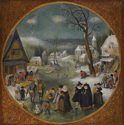 A Winter Landscape With Figures Skating Poster by Workshop of Jacob Grimmer