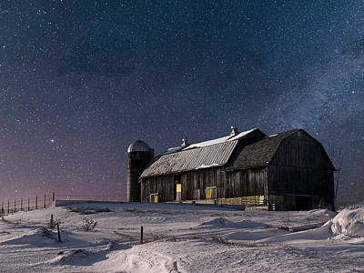 A Winter Night On The Farm Poster by Judy Johnson