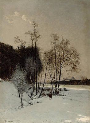 A Winter View In Posen Poster by Hans Hampke