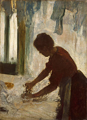 Poster featuring the painting A Woman Ironing by Edgar Degas