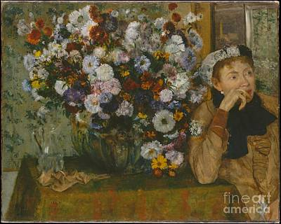 A Woman Seated Beside A Vase Of Flowers Poster by Celestial Images
