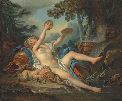 A Wooded Landscape With A Bacchante Playing The Cymbals And A Sleeping Faun Poster by Jean-Simon Berthelemy