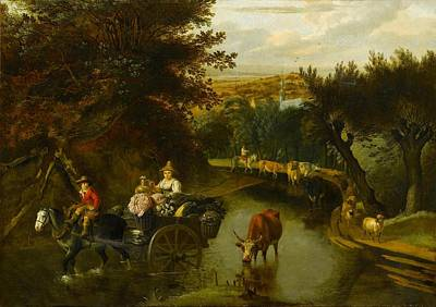 A Wooded Landscape With Peasants Poster by Jan Siberechts
