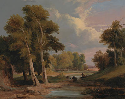 A Wooded River Landscape With Fishermen Poster by James Arthur O'Connor