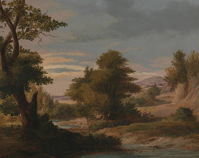 A Wooded River Landscape With Mother And Child Poster by James Arthur O'Connor