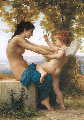A Young Girl Defending Herself Against Eros Poster by William-Adolphe Bouguereau