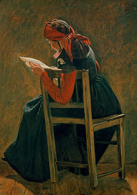 A Young Girl From Salling Reading. Study Poster