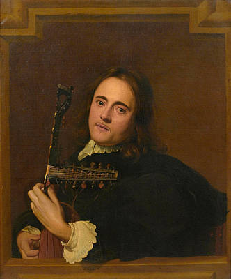 A Young Man At A Stone Window Playing A Theorbo-lute Poster by Jacob van Oost the Elder