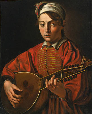 A Young Man Playing A Lute Poster by Follower of the Master of the Lute Player