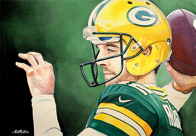 Aaron Rodgers - Green Bay Packers Poster by Michael  Pattison