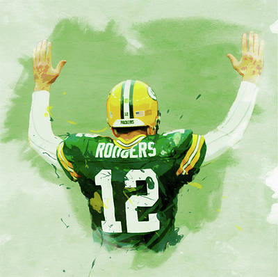 Aaron Rodgers Watercolor Poster by Dan Sproul