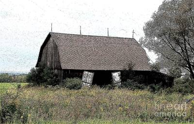 Abandoned Barn In Wny Ink Sketch Effect Poster