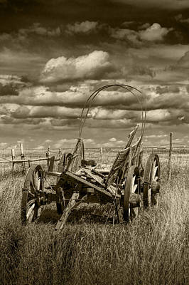 Abandoned Covered Wagon In Sepia Tone Poster by Randall Nyhof