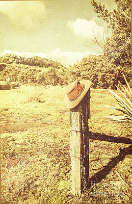 Abandoned Cowboy Hat On Tree Trunk Poster by Jorgo Photography - Wall Art Gallery