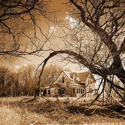 Abandoned Farm House  Sepia Toned Poster