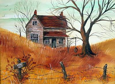 Poster featuring the painting Abandoned Farmhouse by Quwatha Valentine