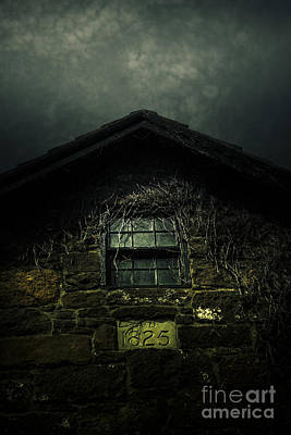 Abandoned Horror House With Creepy Attic Window Poster