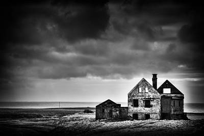 Abandoned House In Iceland Black And White Poster