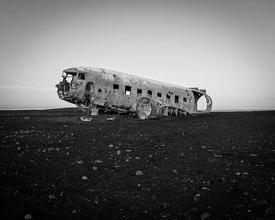 Abandoned Plane On Beach Poster